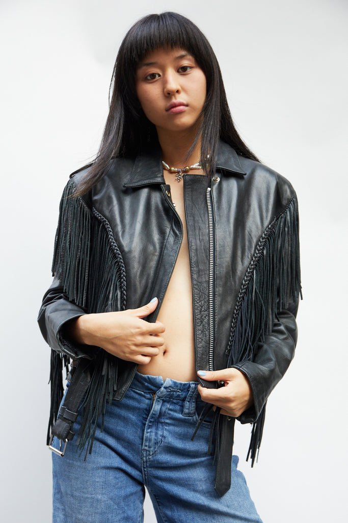 Fringe Leather Motorcycle Jacket