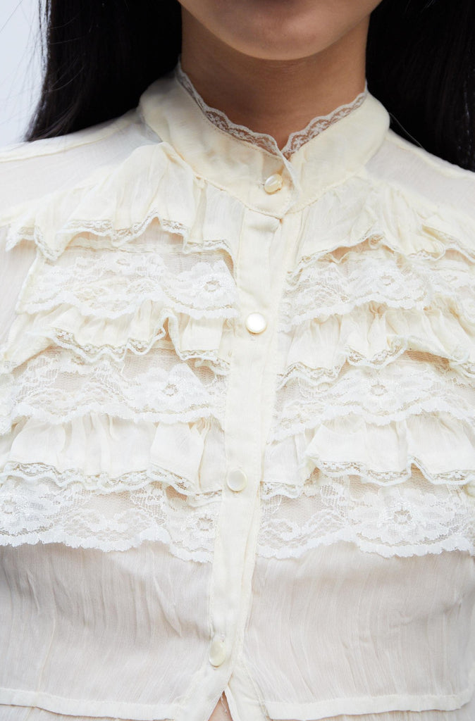 Cream Ruffle Tea Dress