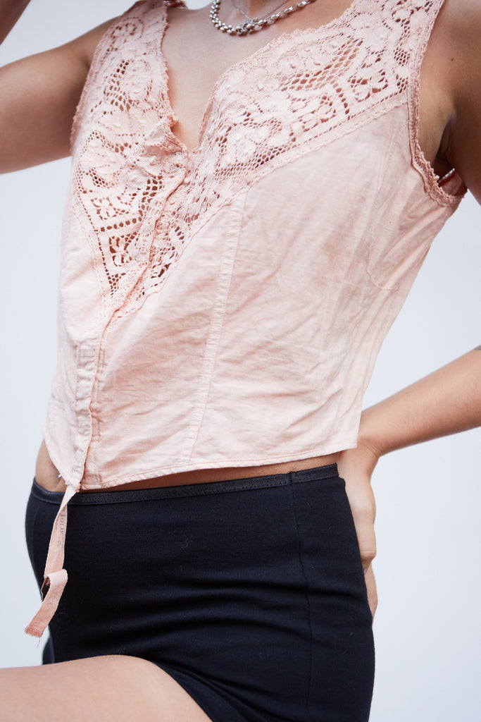 Peach Lace Victorian Top