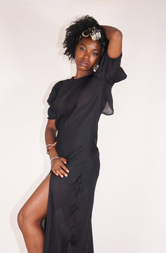 Short Sleeve Monk Dress - Black