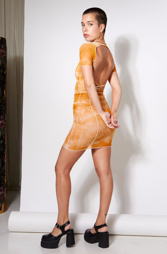 Bo Mesh Mini Dress - Desert Sand Tie Dye