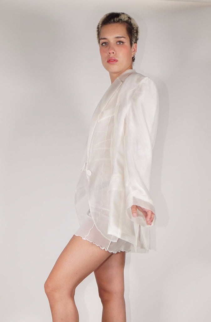 Semi-Sheer Oversized Blazer - White