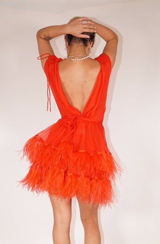 Ostrich Feather Dress - Red (2 Tier)