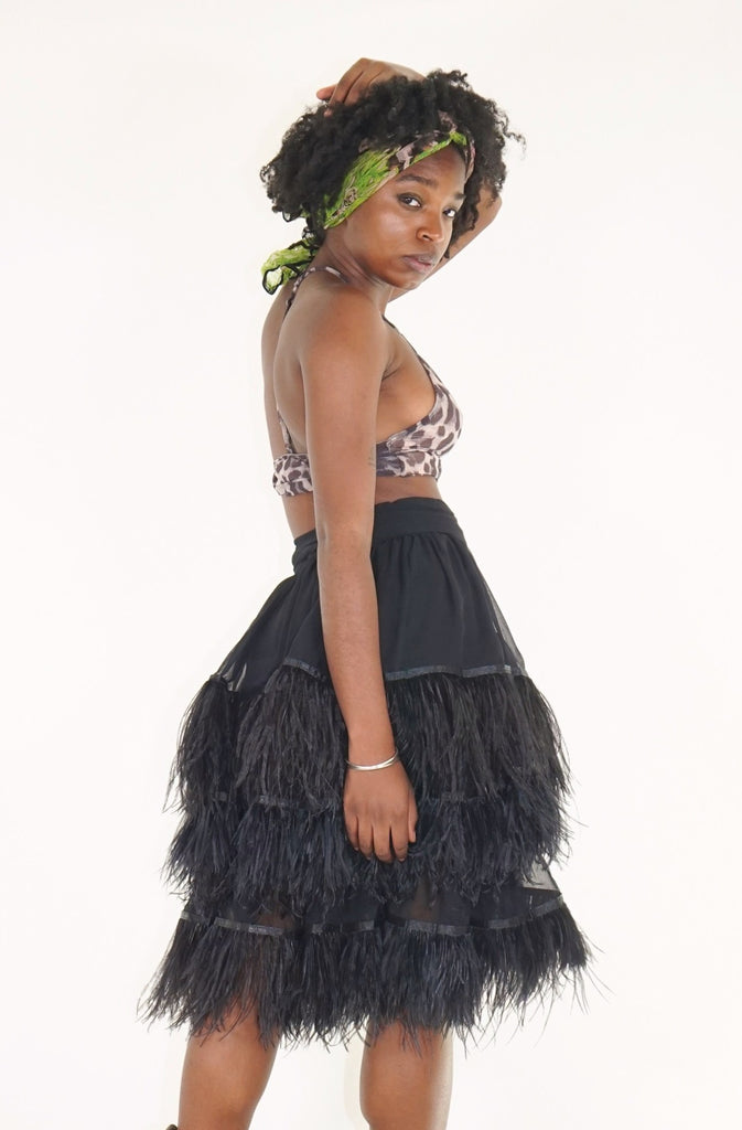 Ostrich Feather Skirt - Black