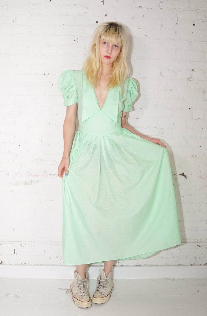 Sailor Dress - Mint Swiss Dot