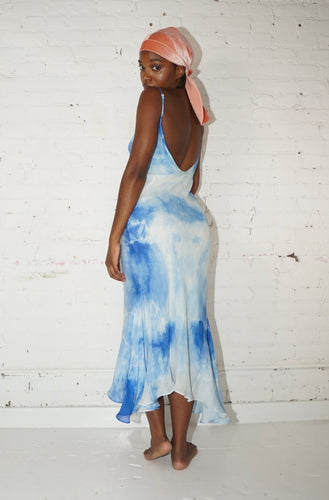 Godet Midi Slip Dress - Blue Tie Dye