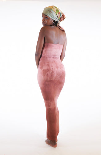 Kira Stretch Maxi Tube Dress - Dusty Rose Tie Dye
