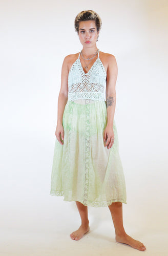 Crochet Halter Victorian Midi Dress - Green