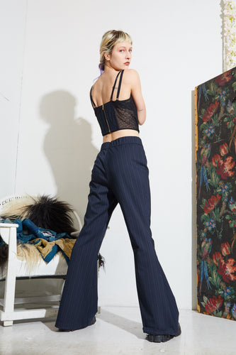 Flared Pant - Navy Stripe