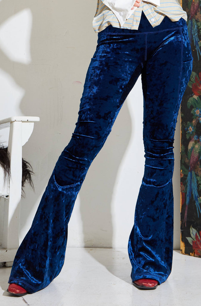 Patchwork Seam Flared Pant - Midnight Blue