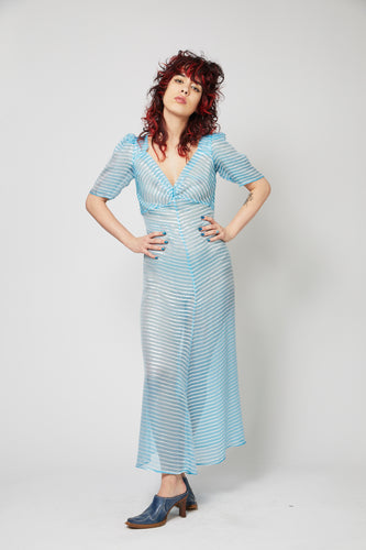 Fairy Dress - Blue and Silver Stripe