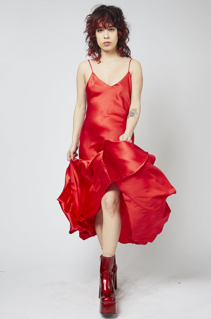Godet Slip Dress - Red