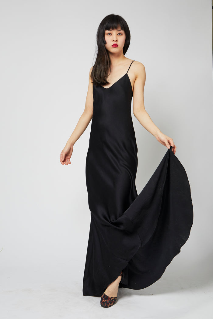 Godet Slip Dress - Black