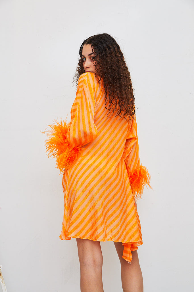 Reversible Feather Cowl Dress - Orange Stripe