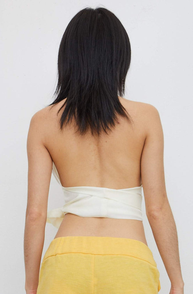 Silk Halter Top - White Stripe