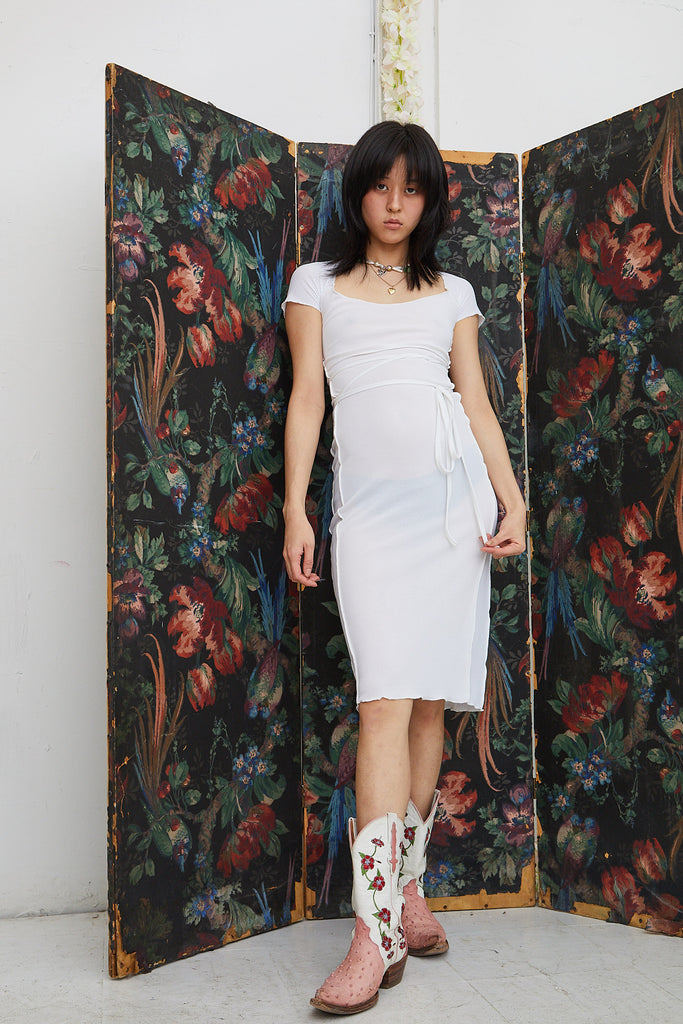 Bo Midi Dress - White with Mesh Panels