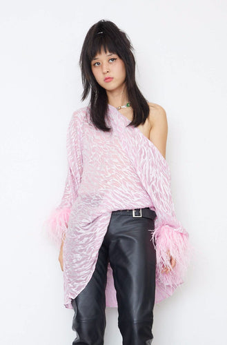 Reversible Feather Cowl Dress - Pink