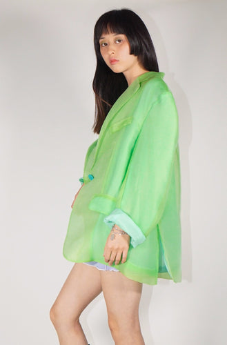 Semi-Sheer Oversized Blazer - Green