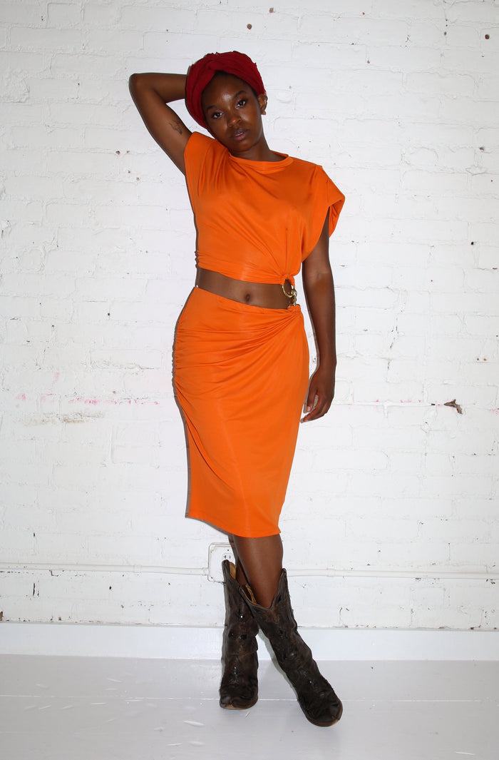 Two Piece Clip Dress - Orange