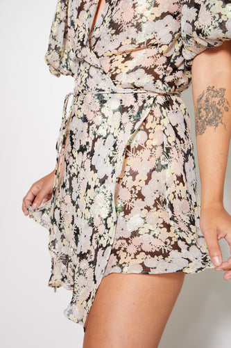 Peter Pan Mini Wrap Dress - Black Floral Print