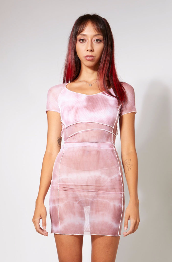 Bo Mesh Mini Dress - Dusty Rose Tie Dye