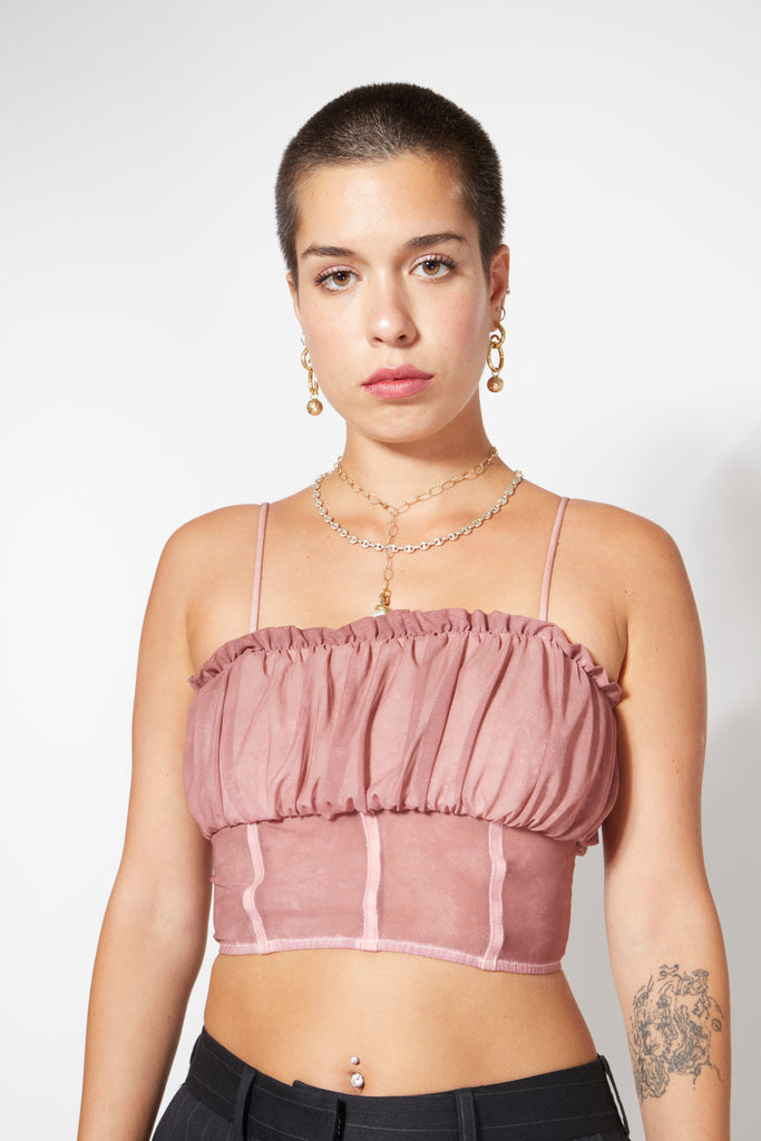 Kira Ruche Top - Dusty Rose Tie Dye