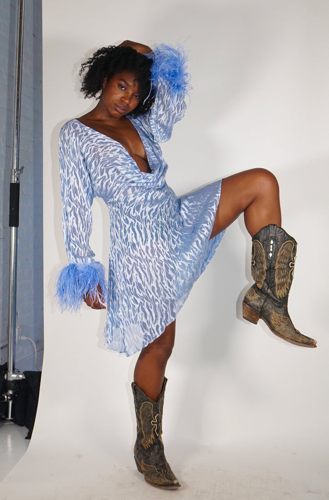 Reversible Feather Cowl Dress - Blue and Silver