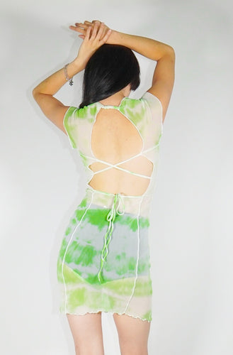 Bo Mesh Mini Dress - Green Tie Dye