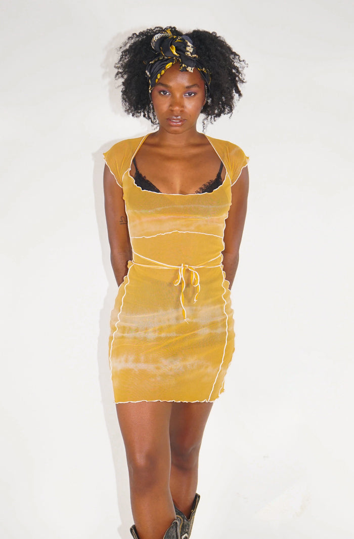 Bo Mesh Mini Dress - Mustard Tie Dye