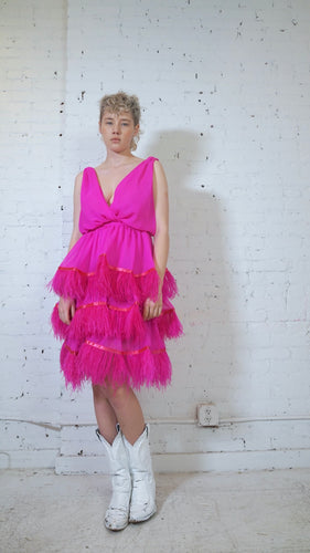 DANA FOLEY NYC FUSCHIA OSTRICH FEATHER DRESS