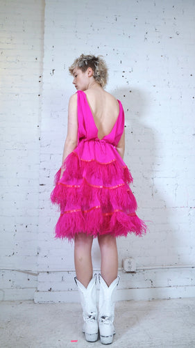 Ostrich Feather Dress - Fuchsia (3 Tier)