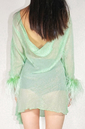Reversible Feather Cowl Dress - Green and Silver