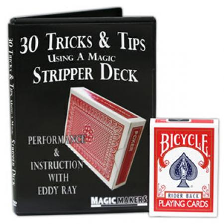 Red Bicycle Stripper Deck Factory Sealed with 30 Tricks & Tips Using A Magic Stripper Deck DVD