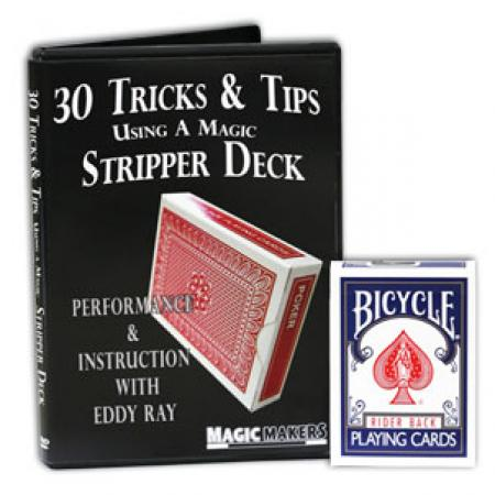 Blue Bicycle Stripper Deck Factory Sealed with 30 Tricks & Tips Using A Magic Stripper Deck Trainging Course