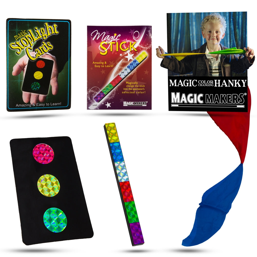 Mini Magic Kit - Stop Light Cards, Color Changing Hanky and Magic Stick