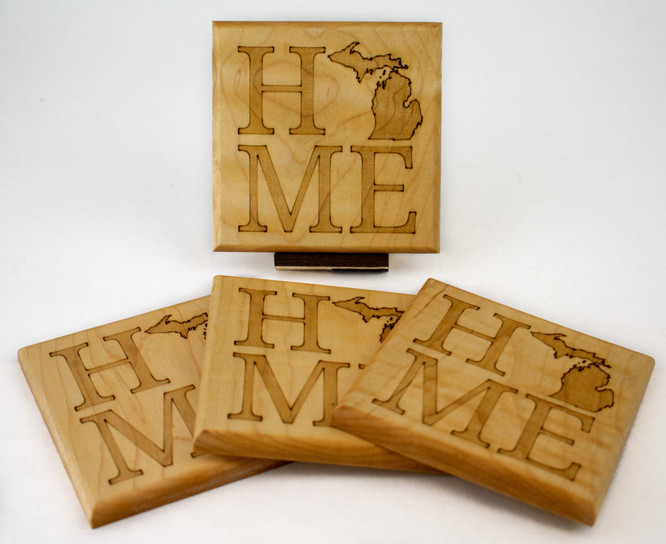 Michigan Maple Laser Engraved Coasters - My Wood Crafting