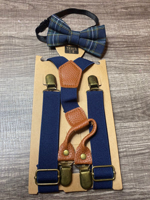 Blue & Green Bow Tie Suspenders Set
