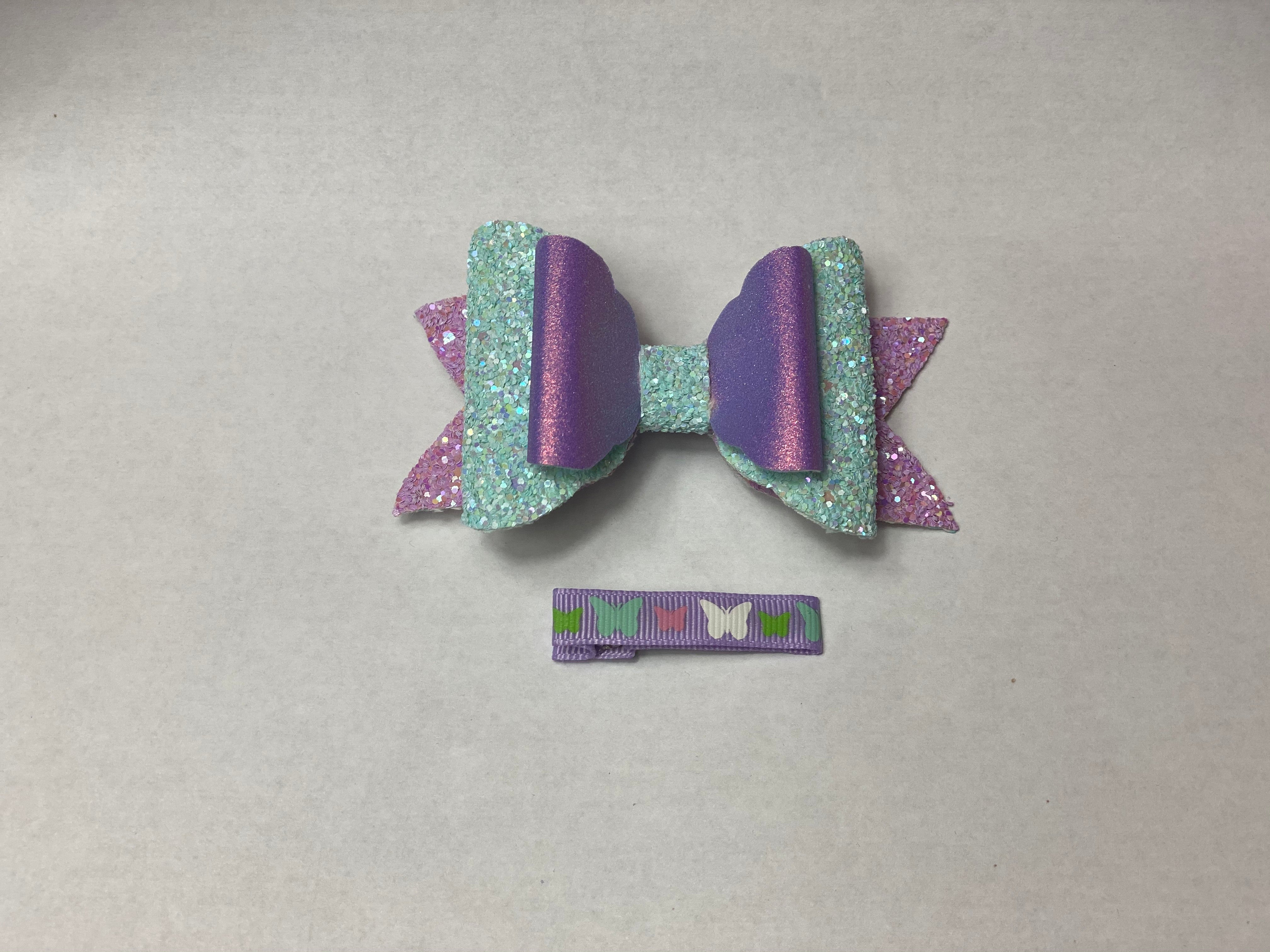 Faux Leather Iridescent Hair Bow