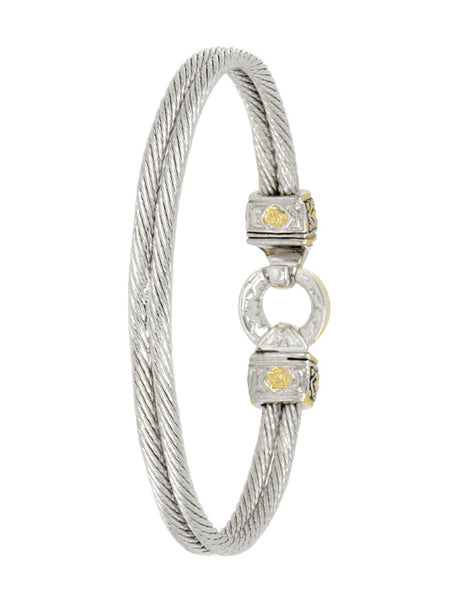 Antiqua Gold Circle Double Wire Bracelet