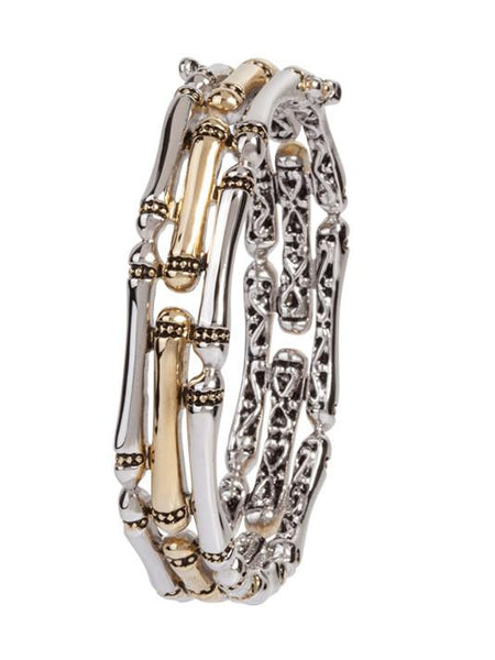 Canias Collection Three Row Hinged Bangle Bracelet