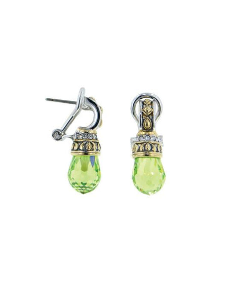 John Medeiros Aqua Briolette Drop Post Clip Earrings