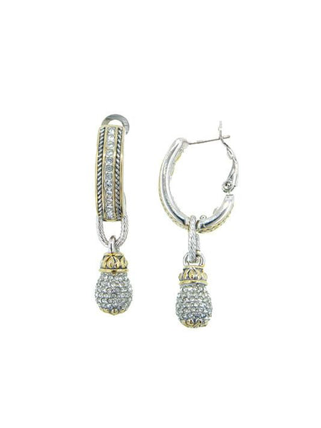 John Medeiros Briolette Pavé Drop Hoop Earrings