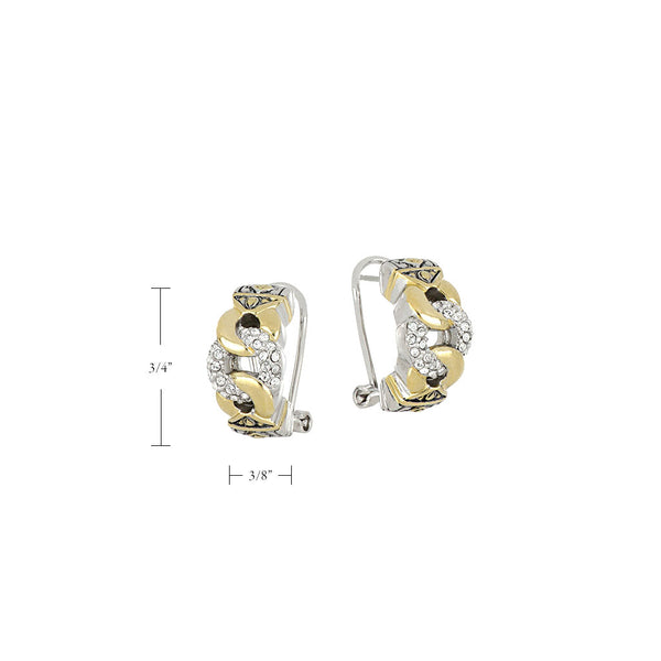 Antiqua Three Circle Pavé Post Clip Earrings
