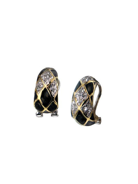 Lattice Collection - Black Abalone Edition - Pavé Omega Clip Post Earrings
