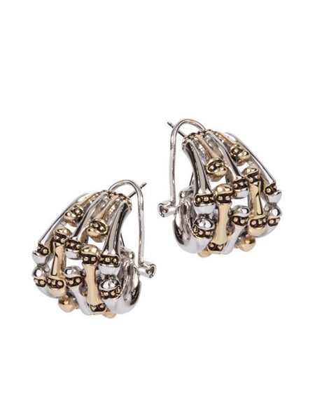 Canias Collection Five Row Omega Clip Post Earrings