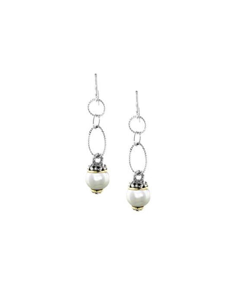Ocean Images Collection Seashell Pearl Fish Hook Long Drop Earrings