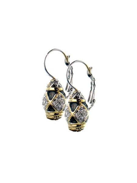 Lattice Collection - Black Abalone Edition - Pavé French Wire Earrings