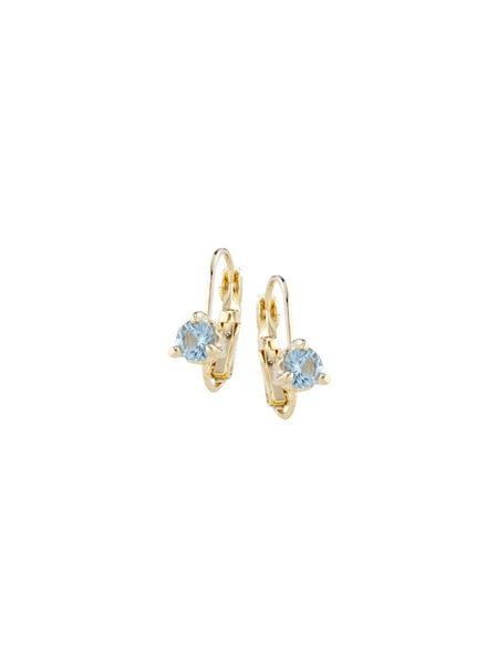 Beijos 5mm Aqua Prong Set Earrings