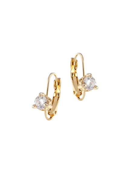 Beijos 5mm Prong Set Earrings - Gold