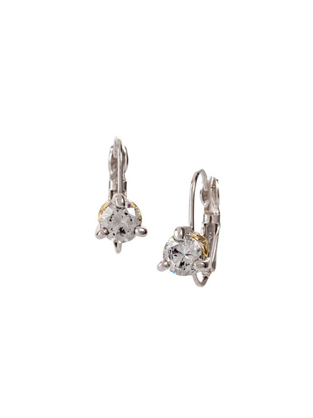 Beijos 6mm Prong Set Earrings - Rhodium